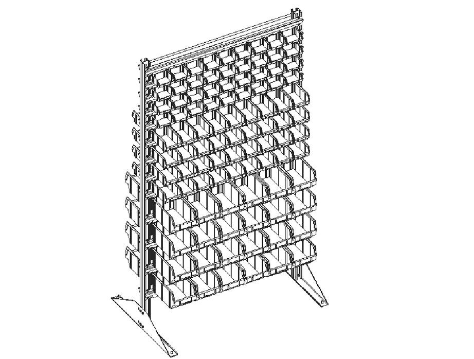 Стеллаж для пластиковых лотков двухсторонний 1500