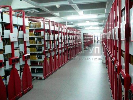 Перекатной архивный стеллаж на электроприводе