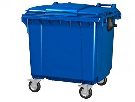 Пластиковый мусорный бак синий