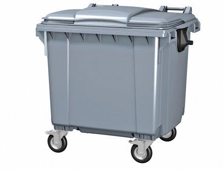 Пластиковый мусорный бак серый