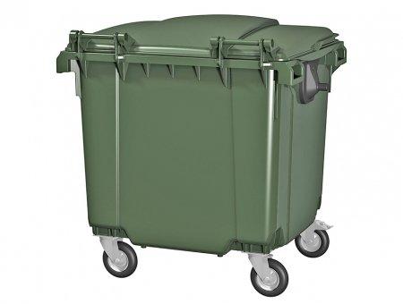 Пластиковый мусорный бак с плоской крышкой