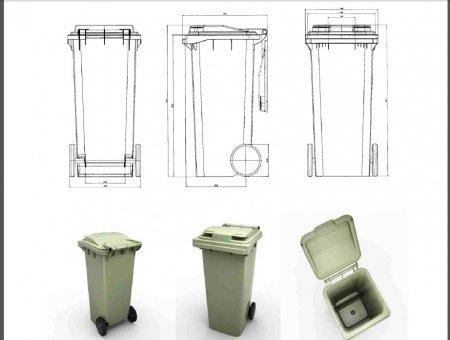 Пластиковый мусорный бак на 120 л