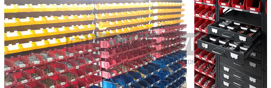 Стеллажи для метизов или как правильно организовать хранение мелких товаров и деталей