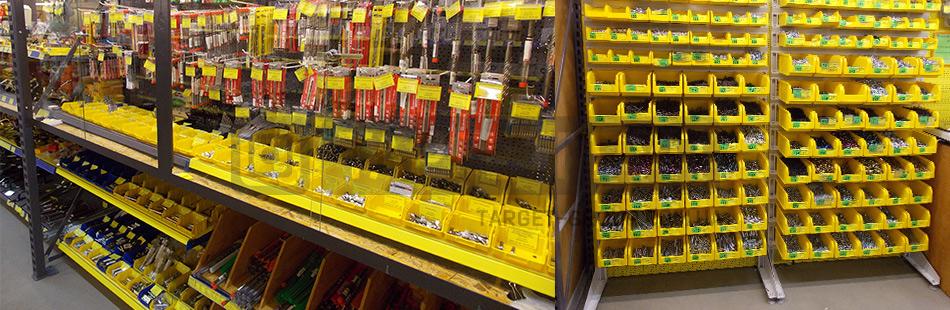 Стеллажи для пластиковых ящиков - отличное решение для строительных супермаркетов